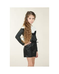 Mini Molly Girls Sweater Dark Grey Knit White & Black Lace Trim Size 6-14 | Girls Sweaters LA475A20 Grey