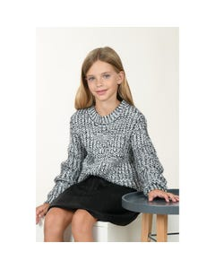 Mini Molly Girls Sweater Black & White Cable Stitch Pattern Size 6-14 | Toddler Girl Sweaters LA494A20 Black