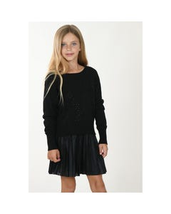 Mini Molly Girls Sweater Black Knit Black Jewel Trim Size 6-14 | Girls Sweaters LA575A20 Black