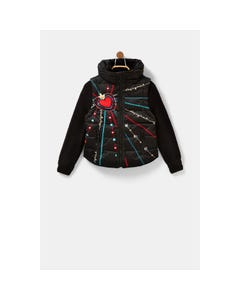 Desigual Girls Jacket Black Padded Removable Sleeves & Fur Collar Mcl Embroidered Size 4-14 | Baby Girl Coats GEW20 Black
