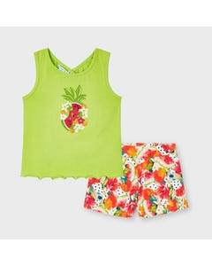 Mayoral Girls 2 Pc Short Set Green & Multi Colored Short Embroidered Flower & Print Size 2-9 | Girls Pants 3215 Green
