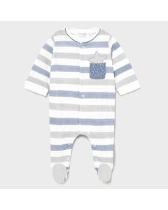 Mayoral Boys Sleeper Striped White Blue Grey Pocket & Star Front Closure Size 1m-18m | Sleepers Kids 1625 Blue