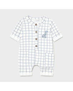 Mayoral Boys Romper White & Blue Check Giraffe Embroidery 2 Pockets Size 0m-18m | Rompers For Juniors 1633 Multi