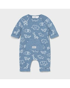 Mayoral Boys Romper Blue White Zoo Animal Print Side Closure Front Pocket Size 0m-18m | Rompers For Kids 1633 Blue
