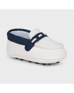 Mayoral Boys Shoe Slip On Moccasins White Navy Trim Size 15-19 | Toddler Shoes 9394 White