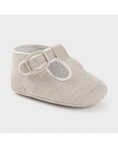 Mayoral Boys Shoe Linen Velcro Strap Size 15-19 | Infant Shoes 9401 Ivory