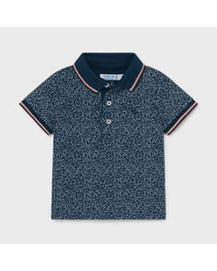 Mayoral Boys Polo Top Blue Small Print Navy Knit Collar Size 6m-24m | Baby Shirts 1105 Blue