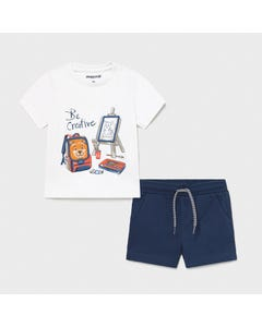 Mayoral Boys 2Pc Short Set White & Navy Painter Set Print With Pull Up Flaps Size 6m-24m | Infant Pants 1671 White