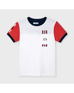 Mayoral Boys Tshirt White Red Short Sleeves With Pocket Size 2-9 | Boys School Shirts 3046 White