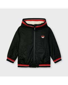Mayoral Boys Windbreaker Black Hooded Red Stripe Trim Size 2-9 | Kids Jackets 3415 Black