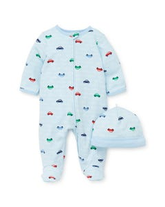 2PC SLEEPER & HAT BLUE CAR PRINT FRONT CLOSURE