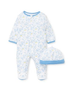2 PC SLEEPER & HAT WHITE BLUE BEAR PRINT FRONT CLOSURE