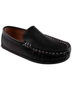 SHOE BLACK SLIP ON  STITCHED TRIM
