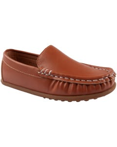 SHOE BROWN SLIP ON STITCHED TRIM