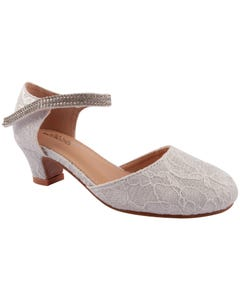 SHOE OFF WHITE LACE RSTONE TRIM HEEL