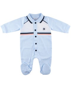 Gaby Boys Sleeper Sky Blue Navy & White Trim Front Closure Cotton Size 3m-12m   Baby Sleeper Suits 802 Blue