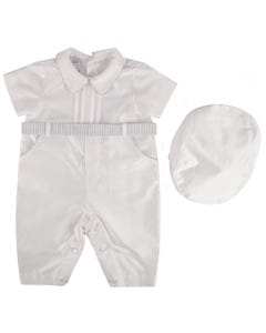 Stella Boy 2Pc.Romper & Hat Short White Striped Belt & Trim Size 3m-12m | Rompers For Toddlers 80001 White