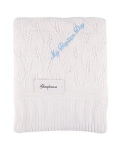 Gianfranca Boy Mbd Blanket White Blue Writing Size OS | Blankets For Babies 238 White