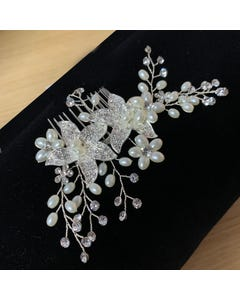 HAIR COMB SILVER & PEARL FLOWERS