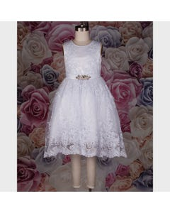 GOWN WHITE HIGH LOW EMBROIDERED TULLE  LARGE ON SATIN BELT