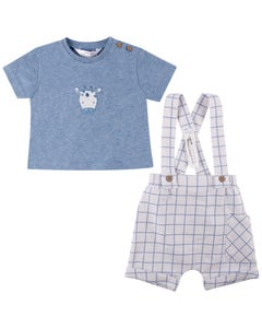 Mayoral Boys 2Pc Short Set Blue Tshirt & White Short Blue Check With Suspenders Size 0m-18m | Two Piece Outfits For Babies 1207 Blue