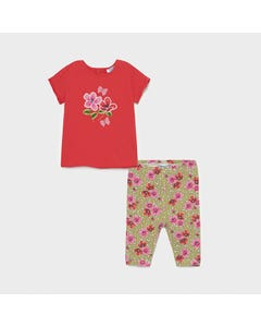 Mayoral Girls 2 Pc Legging And Top Set Red & Floral Embroidered Flower Size 6m-36m | Kids Leggings 1714 Red