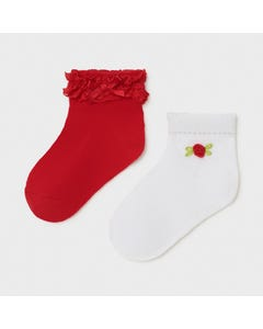 Mayoral Girls 2Pc Sock Set Red & White Lace Frill Size 6m-24m | Kids Socks 10011 Red