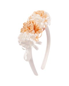 Mayoral Girls Headband White & Beige Ribbon Flower Trim Baby Size OS | Toddlers Hair Accessories 10029 White
