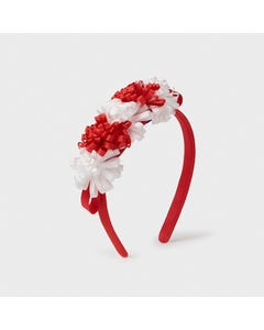 Mayoral Girls Headband Red & White Ribbon Flower Trim Baby Size OS | Hair Accessories For Kids 10029 Red