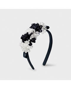 Mayoral Girls Headband Navy & White Ribbon Flower Trim Baby Size OS | Toddlers Hair Accessories 10029 Navy