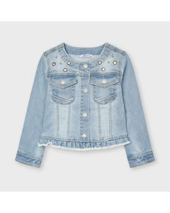 Mayoral Girls Jacket Bleached Denim 2 Pockets Silver Circles Size 2-9 | Baby Girl Sweaters 3478 Denim