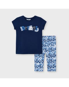 Mayoral Girls 2Pc Top & Legging Navy & Blue Printed Dreams Applique Short Sleeve Size 2-9 | Girls Two Piece Outfits 3741 Navy