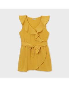 Mayoral Girls Jumpsuit Yellow Crepe Flounce Neckline & Waist Tie Size 8-18 | Rompers For Kids 6816 Yellow