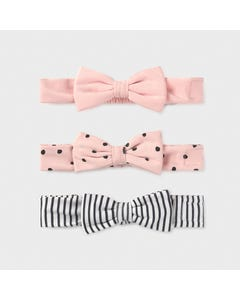 Mayoral Girls 3 Pc Headband Set Pink & White & Black Stripe Soft Baby Size OS | Toddlers Hair Accessories 9385 Pink