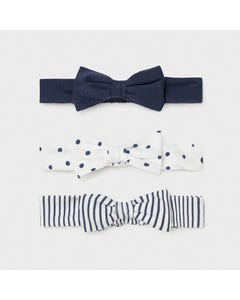 Mayoral Girls 3 Pc Headband Set Navy & White Soft Baby Size OS | Hair Accessories For Toddlers 9385 Navy