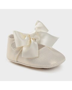 Mayoral Girls Shoe Pearl Shimmer Maryjane Bow Trim Size 15-19 | Baby Shoes 9404 Ivory
