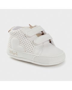Mayoral Girls Training Shoe White Gold Trim Size 15-19 | Shoes For Infants 9409 White