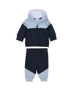 Hugo Boss Boys 2 Pc Jogging Set Blue & Navy Hooded White & Navy Logo Size 1m-18m | Tracksuits For Babies J98306 Navy