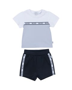 Hugo Boss Boys 2Pc Tshirt & Short White & Navy & Blue Embossed Logo Size 3m-18m | Two Piece Outfits For Babies J98308 Blue