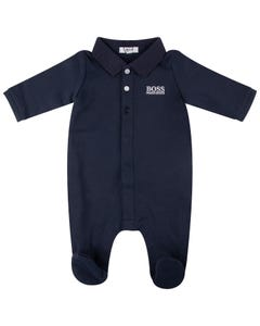 Hugo Boss Boys Polo Sleeper Navy Knit Collar White Logo Size 1m-18m | Baby Sleepers J97169 Navy