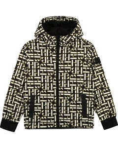 Hugo Boss Boys Windbreaker Hooded Hb Allover Print Black White & Yellow Size 4-16 | Kids Coats J26436 Black