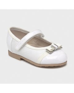 Mayoral Girls Shoe White Silver Buckle & Strap Flat Ballet Size 19-25 | Infant Shoes 41252 White