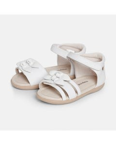Mayoral Girls Sandal White 2 Bows Trim & Velcro Size 19-25 | Baby Shoes 41268 White