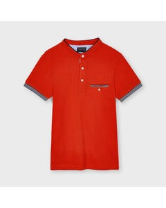 Mayoral Boys Polo Top Hibiscus Mao Neck Short Sleeve Size 8-18 | Toddler Boy Shirts 6106 Red