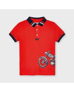 Mayoral Boys Polo Top Red Navy Collar & Cuff & Scooter Print Short Sleeve Size 2-9 | Boys School Shirts 3108 Red