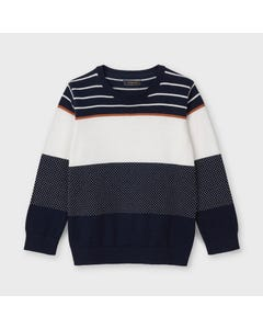 Mayoral Boys Sweater Navy & White Color Block Knit Long Sleeve Size 2-9 | Kids Sweaters Boys 3328 Navy