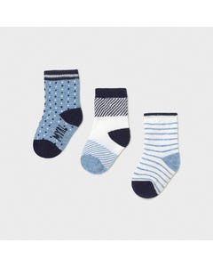 Mayoral Boys 3 Pc Sock Set Blue & White Patterned Size 3m-18m | Childrens Socks 9362 Blue