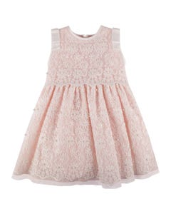 DRESS PINK WHITE EMBROIDERED TULLE WITH PEARL TRIM