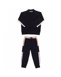 WLKN Girls 2 Pc Tracksuit Navy & White & Pink Zip Closure Size 2-14 | Tracksuits For Girls WJK30 WPJ25 Navy