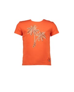 Le Chic Girls Tshirt Tangerine Sparkly Palm Tree Embroidery Short Sleeve Size 4-14 | Le Chic Baby Clothes 5441 Orange